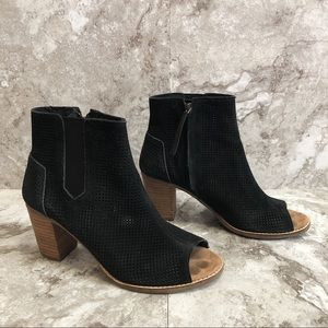 Toms Black Laser Cut Open Toe Booties